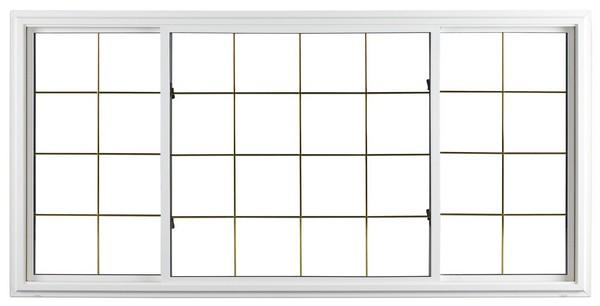 Exterior View | White | Thin Brass Glass Dividers | Quarter Half Quarter Slider (end pieces of glass slide toward center)