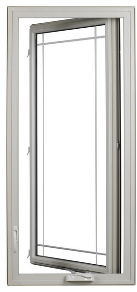 Interior View (open - hinge on right) | Beige | Perimeter Glass Dividers | Nested Crank Handle