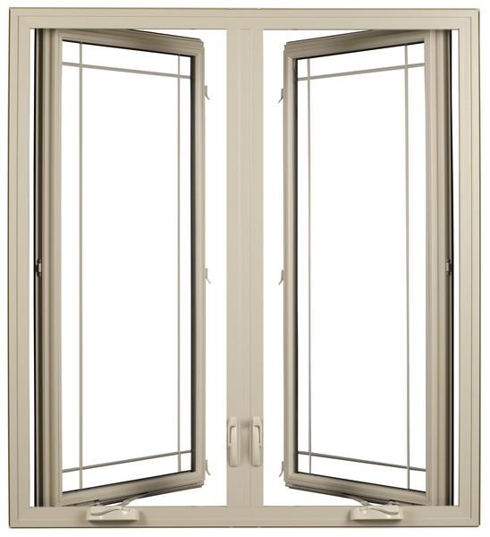 Interior View (open - left window hinge on left, right window hinge on right) | Beige | Perimeter Glass Dividers | Nested Crank Handle | Double Wide