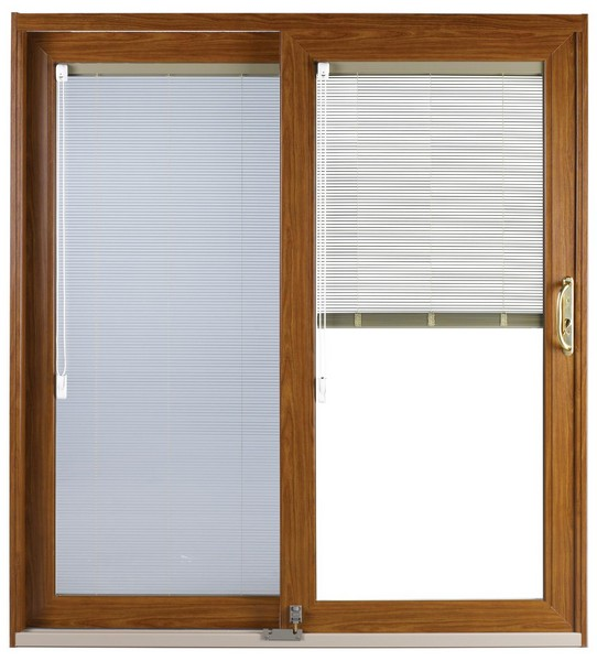 Interior View | Cherry Finish | No Glass Dividers | Polished Brass Handle | Foot Bolt | Blinds with Cord Operator