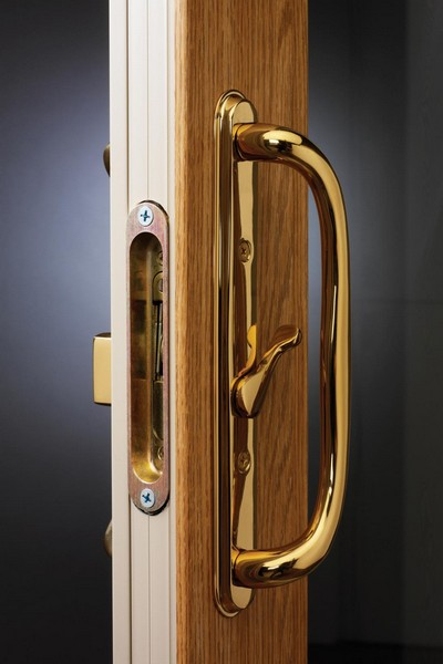 Interior View | Polished Brass Handle & Lock (Standard on Woodgrains and Two-Tone Doors)