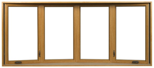 Interior View | Light Oak Finish | No Glass Dividers | Four Window Bow